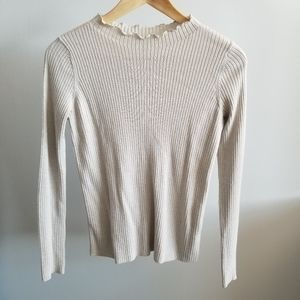 Uniqlo Cream Metallic Ribbed Sweater